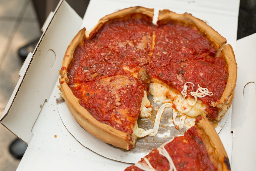 cut chicago style deep dish pizza