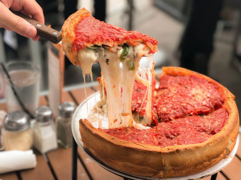 layers inside chicago pizza style